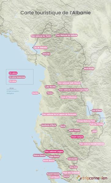 Carte touristique Albanie