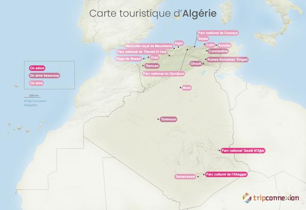 Carte touristique Algérie