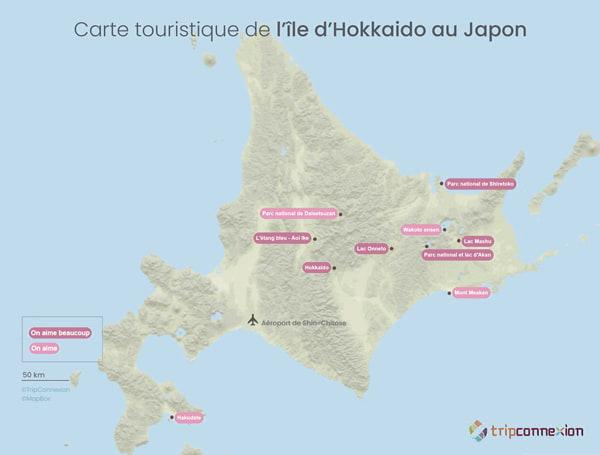 Carte touristique Japon Nord