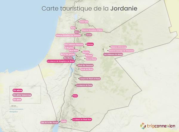 Carte touristique Jordanie