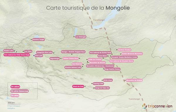 Carte touristique Mongolie
