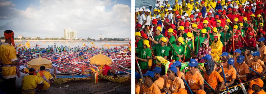 Les régates de pirogues pendant la fête de l'eau à Phnom Penh au Cambodge