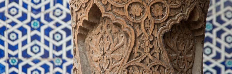 Détail d'une sculpture de bois à Khiva en Ouzbékistan.